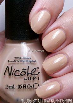 Nicole by OPI. Spring 2012 Wel-Kim (Kardashian) to My World Collection. Kim Konfidential. Looks similar to OPI San-tan-tonio.