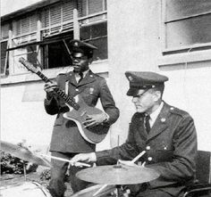 19 year old Jimi Hendrix jamming with a friend in the army, 1961