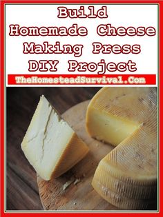 How to Build Homemade Cheese Making Press DIY Project should be on your list o homesteading skills to invest in yourself by learning. Homemade cheese is Making Cheese At Home, How To Make Cheese, Cheese Making Supplies, Cheese Press, Farmers Cheese, Cheese Maker, Homemade Cheese, Cheese Recipes, Popular Recipes