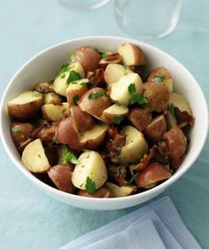 Potato Salad with Bacon and Parsley - This mayonnaise-free version has a piquant dressing made from red wine vinegar, olive oil, and mustard