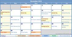 November-2016-Calendar-with-Holidays.png (761×398)