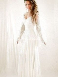 White Lace Celtic Medieval Wedding Dress approx. $400