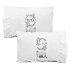 HERS & HERS pillowcase set white cotton grey by kinshippress, $30.00