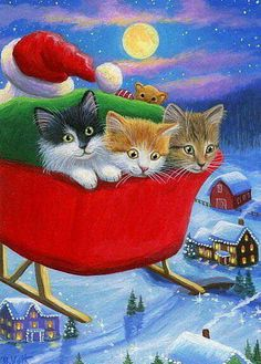 Kittens Cats Santa 039 s Sleigh Moon Houses Christmas Original ACEO Painting Art Christmas Scenes, Christmas Animals, Christmas Cats, Christmas Pictures, Illustration Noel, Christmas Illustration, I Love Cats, Cool Cats, Photo Chat