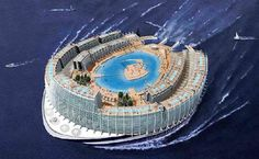 Floating Worlds - Alstom Marine and architect Jean-Philippe Zoppini announced an amazing futuristic project called AZ Island. The project is to build a high-tech, ar. Floating Architecture, Futuristic Architecture, Conceptual Architecture, Ocean Cruise, Cruises, National Geographic, Photos, Future, Trains