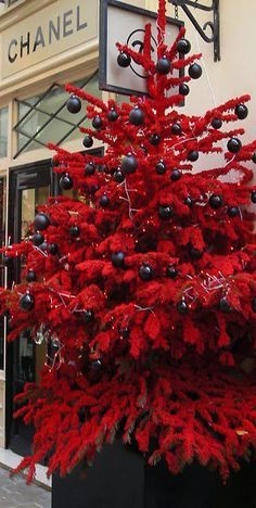 Love this black and red christmas tree ~Chanel Christmas in Paris Christmas Tree Images, Elegant Christmas Trees, Christmas In Paris, Flocked Christmas Trees, Christmas Tree Design, Christmas Tree Themes, Diy Christmas Gifts, Red Christmas, Christmas Wreaths