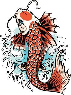 vector of koi fish tattoo