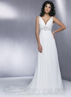 Romantic Deep V-neck Empire Sleeveless Backless Court Train Wedding Dresses