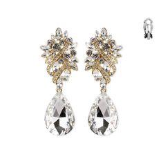 Wedding bridal clip on earrings crystal rhinestone 5 long gorgeous crystal rhinestone chandelier wedding clip on earrings prom bridesmaids aloadofball Gallery