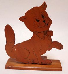 LOVELY VINTAGE CUT OUT WOODEN CAT ON STAND c.1930s