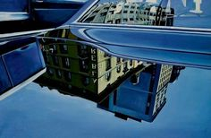 Richard Estes (American, b. Car Reflection, Oil on canvas, x cm. Lawrence Lee, Artistic Installation, American Artists, Urban Art, Great Artists, Les Oeuvres, Landscape Paintings, Oil On Canvas, Reflection
