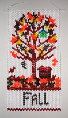 Handmade Hand Beaded Fall Tree Beaded Banner with Nylon Cord Hanger Pony Bead Projects, Pony Bead Crafts, Seed Bead Projects, Beaded Crafts, Beading Projects, Pony Bead Patterns, Peyote Patterns, Beading Patterns, Beaded Banners