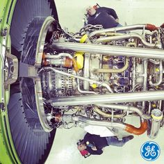 The view from above - technicians working on a GE90 #engine at #GE #Aviation in Peebles, OH. #technology #manufacturing #avgeek