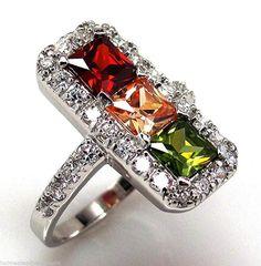 Size 9 925 Sterling Silver Eternity Ring Garnet Champagne Peridot  Zircon NEW