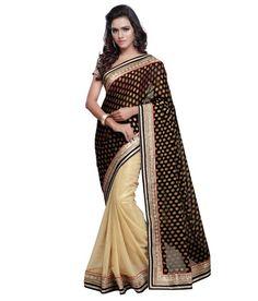 Sareemall Black Faux Chiffon Saree Chiffon Saree, Sarees Online, Mall, Festive, Stuff To Buy, Shopping, Collection, Black, Fashion