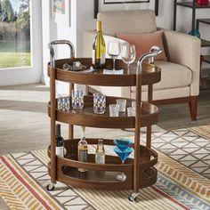 Walnut Veneer, Walnut Finish, Wood Cart, Bar Cart Styling, Chrome Handles, Tropical Style, Shelving, Solid Wood, Contrast