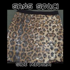 Sequins & Leopard Skirt Size Medium  Has Elastic Waist Band  In Excellent Condition All Sequins Still Attached Sans Souci Skirts Midi