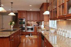 medium brown kitchen cabinets - Google Search