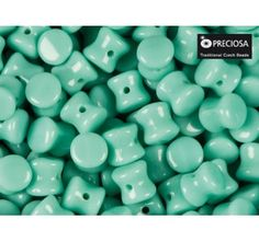 50pcs Pellet Beads 4x6mm Pressed Czech Glass Green Turquoise