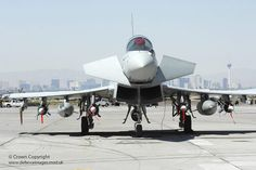A Royal Air Force Typhoon aircraft from RAF Coningsby is pictured in the USA following Ex Green Flag 08 held at Nellis AFB in Nevada.