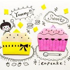 今日も涼しい〜(^.^) 秋近し!?台風?? あま〜いスイーツ食べたいな〜。 #カップケーキ #スイーツ #おりがみ #きっとよろこぶメモでおりがみ p9…