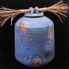Laura Ross Raku Pottery Jar Lidded Vessel c.1990 Periwinkle & Gold Foil on eBay!