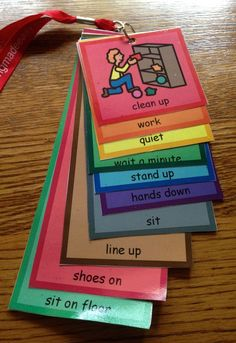 A lanyard with visual supports to use in a classroom or therapy room as a management tool.
