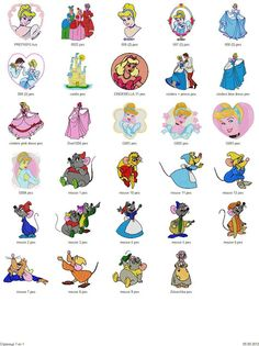 Cinderella, Little Mermaid, Sleeping Beauty - 75 Embroidery Designs - Free Machine Embroidery Designs Download