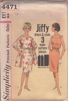 MOMSPatterns Vintage Sewing Patterns - Simplicity 4471 Vintage 60's Sewing Pattern FABULOUS Marilyn Monroe Look Jiffy EASY Summer Sheath Sun Dress Stole Size 18