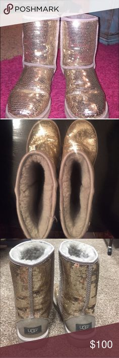 Silver Uggs Barely worn! Not a sequin missing UGG Shoes Winter & Rain Boots