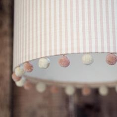 Drum lampshade in Eva Stripe with Pom Pom trim - fabric from Peony & Sage - perfect for a girl's bedroom Bedroom Lampshade, Fabric Lampshade, Baby Room Lamps, Room Baby, Handmade Lampshades, Pink Icing, Shade Flowers, Diy Flowers, Striped Linen