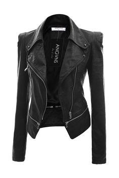 Amazon.com: ANGVNS Women's Faux Leather Power Shoulder Coat Jacket Black M: Clothing