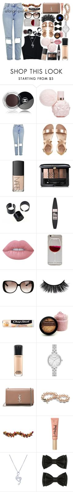 """""""#OOTD"""" by fangirl-preferences ❤ liked on Polyvore featuring Chanel, Topshop, NARS Cosmetics, Guerlain, Maybelline, Lime Crime, Wet Seal, Gucci, Chapstick and MAC Cosmetics"""