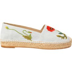 Stella McCartney Poppy Espadrille (8.110.645 VND) ❤ liked on Polyvore featuring shoes, sandals, blue, slip on flats, slip on sandals, blue sandals, blue espadrilles and espadrille flats