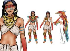 feathers all the way down .Mayan Costume Sketch. by ~Longwave on deviantART