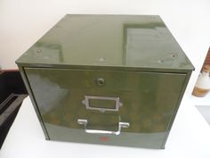 Retro & Vintage Metal Desk Top Veteran Series Filing Cabinet Olive Green finsih contemporary Industrial style storage Home/Office by VintageFoggy on Etsy