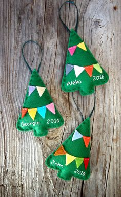 Personalized Christmas ornaments, felt Christmas ornaments, custom family ornaments