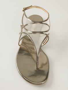 Casadei Mesh Detail Metallic Sandals - Russo Capri - Farfetch.com