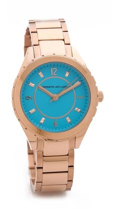 aqua face, rose gold watch, by kenneth jay lane