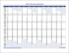 Download the Annual Calendar - Vertical from Vertex42.com