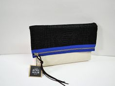 Leather x Canvas I Handmade Clutch by AprilGoldBags on Etsy, $45.00