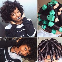 Perm rods on natural hair Insta - Modern Roller Set Natural Hair, Natural Hair Tips, Natural Hair Journey, Be Natural, Natural Hair Styles, Going Natural, Natural Baby, Natural Curls, Permed Hairstyles