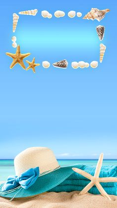 ↑↑TAP AND GET THE FREE APP! Lockscreens Art Creative Sky Water Sun Beach Chill Hat Star Blue HD iPhone 6 Plus Lock Screen