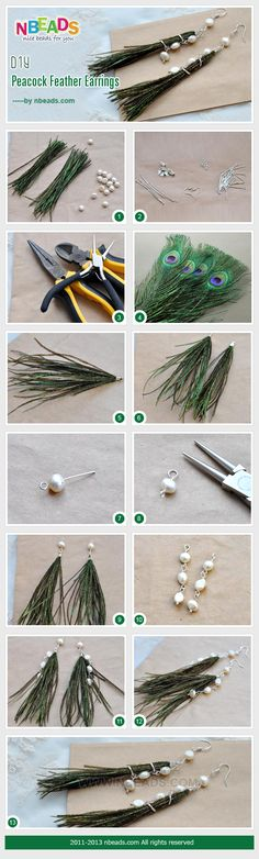 DIY Peacock Feather Earrings diy crafts diy crafts diy jewelry craft jewelry