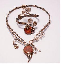 Wire Wrapped jewelry handmade / coral wire wrapped by BeyhanAkman