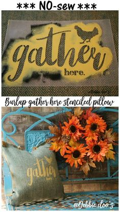 Gather here stencil and fall decor ideas