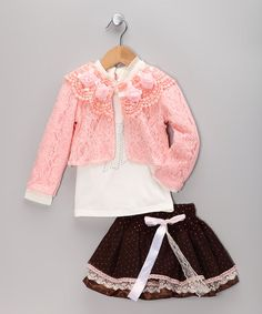 Take a look at this Brown & Pink Lace Skirt & Jacket Set - Toddler & Girls by Sweet Charlotte on #zulily today!