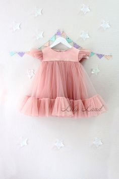 Summer Dress dusty rose tutu dress Toddler Baby Girls Princess Dress cap Sleeves Tulle Summer pink Dresses girl dress any size 1 2 3 4 5 6 7 8 9 10 powder dirty pink light weight dress CUSTOM ORDER: ANY DRESS YOU WANT Also, we can do any model of dress t Baby Girl Dress Patterns, Baby Dress Design, Dresses Kids Girl, Little Girl Dresses, Girl Outfits, Pink Dresses, Baby Dresses, Dress Girl, Peasant Dresses