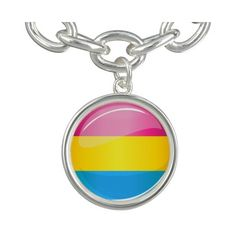 Glossy Round Pansexual Pride Flag Bracelets ($27) ❤ liked on Polyvore featuring jewelry, bracelets and polish jewelry
