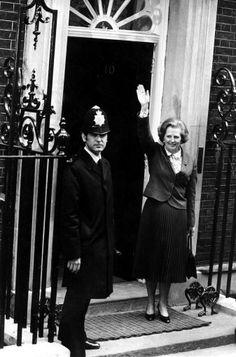 Margaret Thatcher outside Number 10 1979